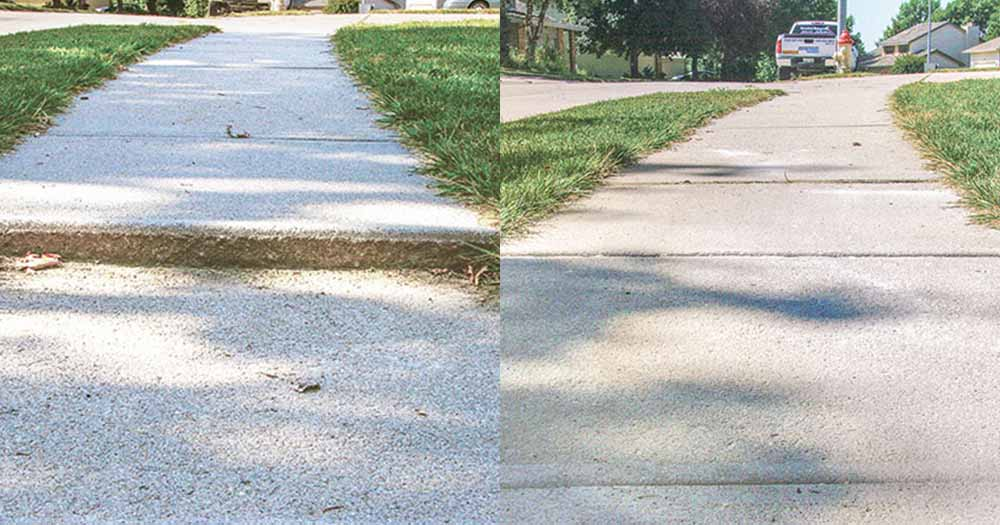 concrete repair for sidewalk before and after
