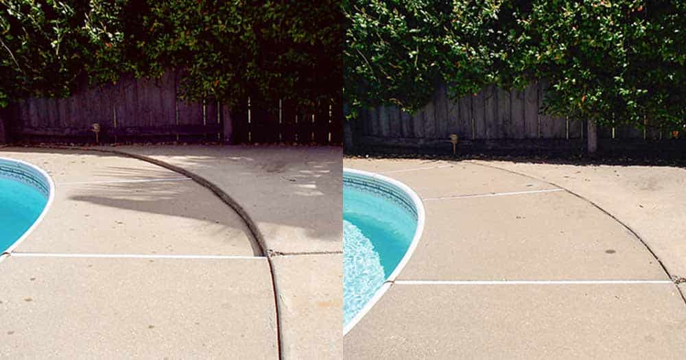 concrete raising for pool deck before and after